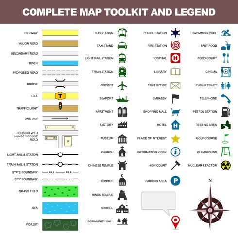 Kart ikon legende symbol tecknet verktygslåda element. vektor
