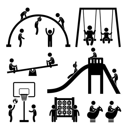 Children Playground Outdoor Park. vector