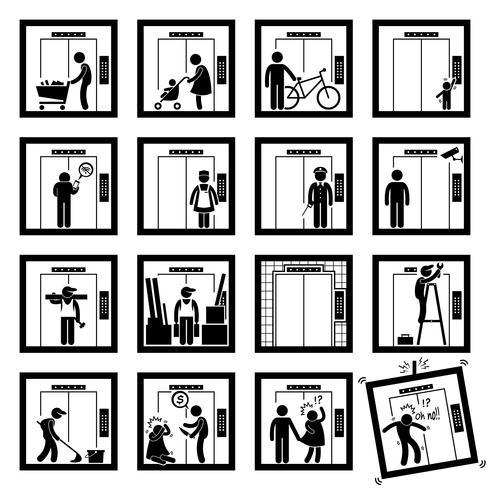 Cosas que la gente hace dentro de los iconos de pictogramas de figura de barra de elevador de elevador (segunda versión).