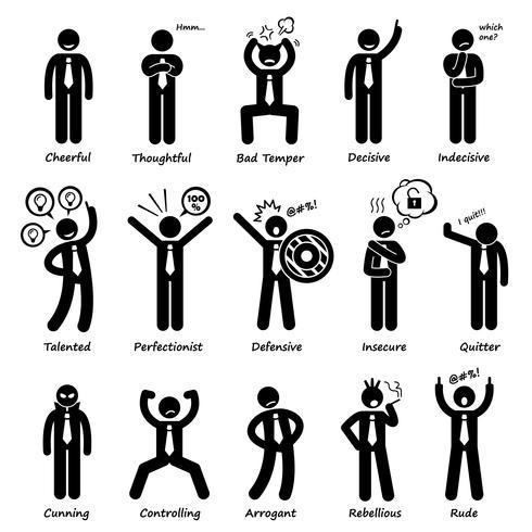 Zakenman houding persoonlijkheden tekens stok figuur Pictogram pictogrammen.
