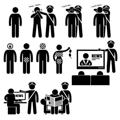 Censor Censorhip Governo Media Restrições Stick Figure Pictogram Icon. vetor