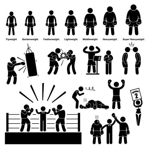 Boxeo Boxer Stick figura pictograma icono. vector