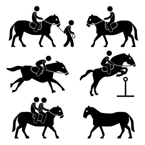 Pictograma de la muestra del símbolo del icono ecuestre del jinete del entrenamiento del montar a caballo.