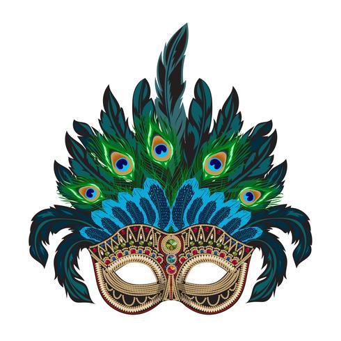 Vektorblå utsmyckad venetiansk karnevalsmask med färgglada fjädrar