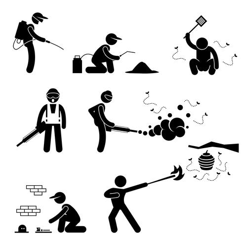 Exterminator Pest Control Stick Figure Pictogram Icon.