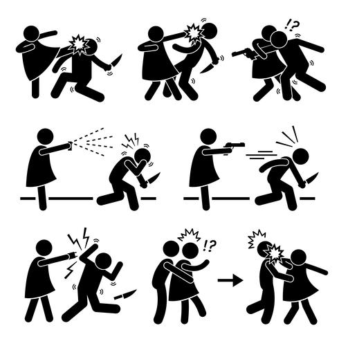 Icône de pictogramme de femme fille fille Self Defense Stick Figure.