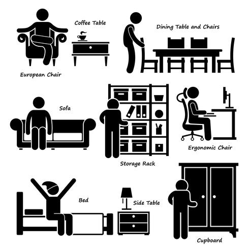 Home House Furniture Stick Figure Pictogram Icon Cliparts.