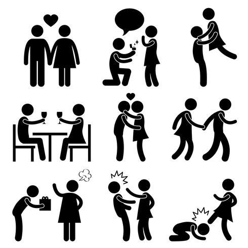 Amoureux Couple Amour Proposition Étreinte Angry Slap Kick.