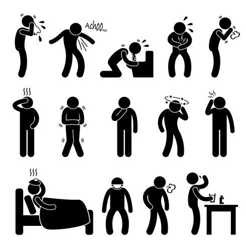 Maladie maladie maladie symptôme. vecteur