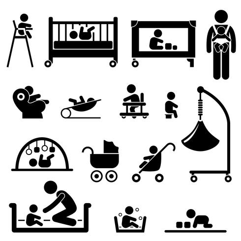 Baby Child Newborn Toddler Kid Equipment Stick Figure Pictogram Icon. vector