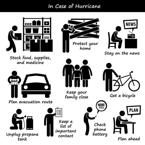 In Case of Hurricane Typhoon Cyclone Emergency Plan Stick Figure Pictogram Icons.