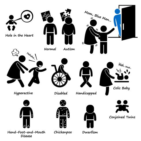 Baby Kinderen Kid Gezondheid Ziekte Syndroom Probleem Stick Figure Pictogram Pictogram Clipart.