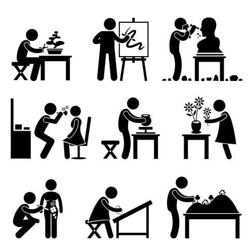 Künstlerische Arbeit Job Occupation Stick Figure-Piktogramm-Symbol. vektor