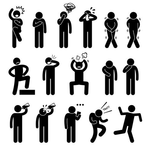 Human Action Poses Postures Stick Figure Pictogram Icons. vector