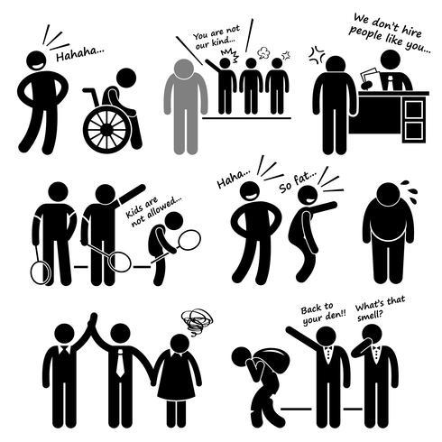 Discrimination, préjugés racistes, biais, stick figure, pictogramme, icône, cliparts.