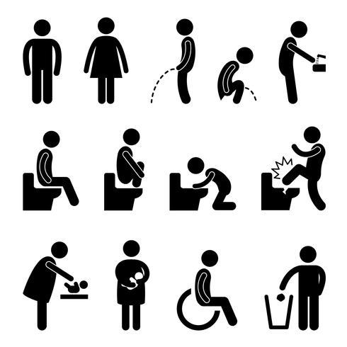 Sinal público da desvantagem grávida do banheiro do toalete.