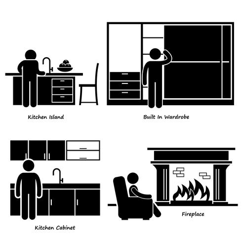 Home House Built-in Furniture Stick Figure Pictogram Icon Cliparts. vector