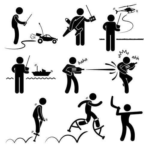 Playing with Outdoor Toys Remote Control Car Plane Helicopter Ship Water Gun Jumper Boomerang Stick Figure Pictogram Icon. vector