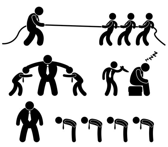 Business Employee Worker Situation in Office Workplace Icon Pictogram.