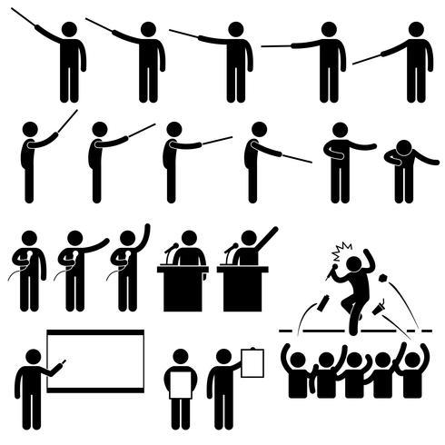 Présentation du conférencier, enseignement Discours Icône de pictogramme de bonhomme allumette.