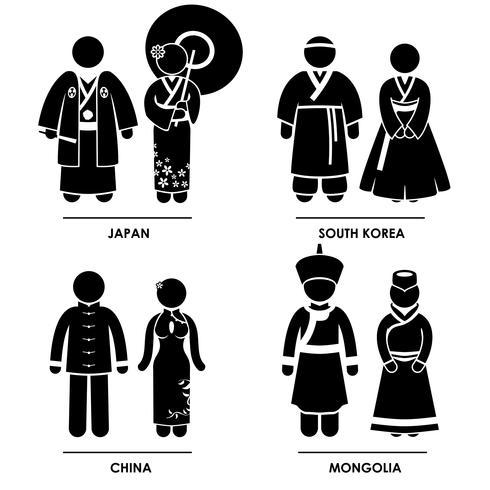 Ropa tradicional de Asia oriental.