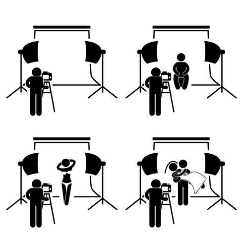 Photographer Studio Photography Shoot Stick Figure Pictogram Icon.