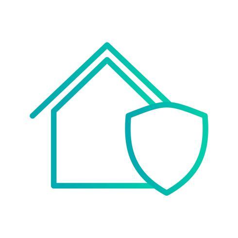 Icône de vecteur de maison protégée