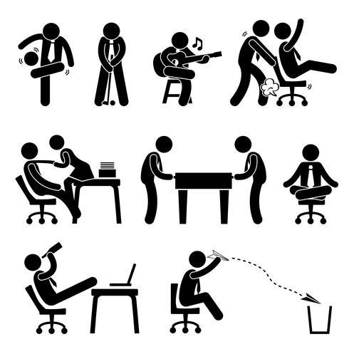 Employee Worker Staff Office Workplace Plezier hebben Playing Stick Figure Pictogram Pictogram.