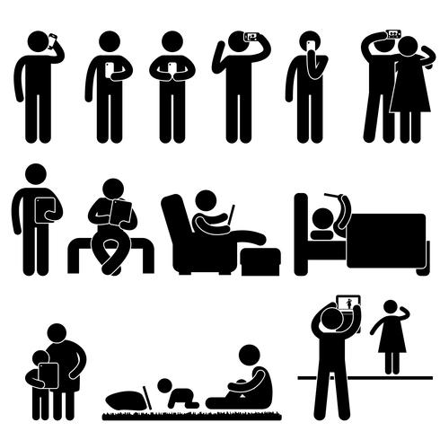 Man, Woman and Children Icon Symbol Sign Pictogram.