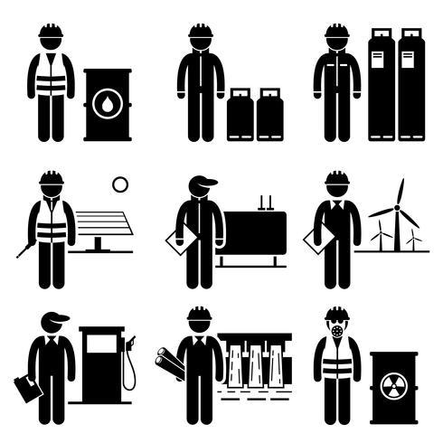 Grondstoffen Energie Brandstof Kracht Stok Figuur Pictogram Pictogrammen. vector