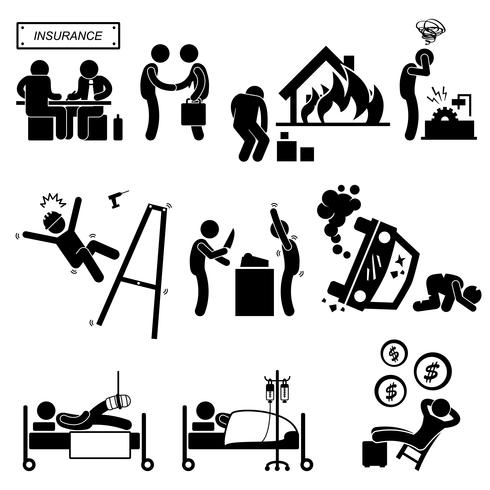 Versicherungsvertreter Eigentum Unfall Raub medizinische Deckung entlasten Strichmännchen Piktogramm Symbol.