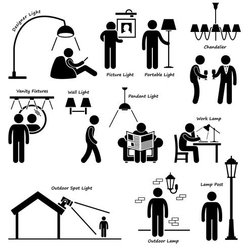 Home House Lighting Lamp Designs Stick Figure Pictogram Icon Cliparts.