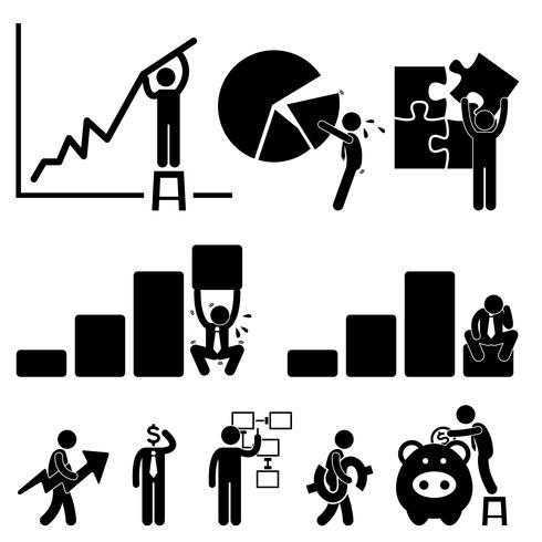 Graphique de Finance d'entreprise Employé Travailleur Homme d'affaires Solution Icône Symbole Signe Pictogramme.