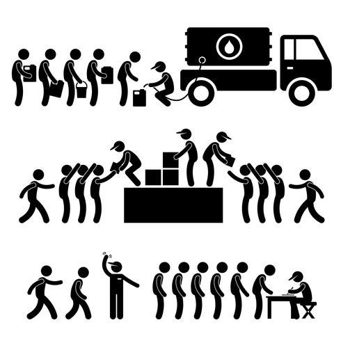 Aide gouvernementale aux citoyens approvisionnement en eau de stock de denrées alimentaires soulagement communautaire icône de pictogramme de bonhomme allumette soutien.