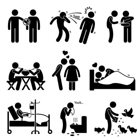 Virus Spread Diseases Transmission Infections Ways Stick Figure Pictogram Icons.