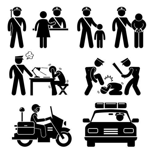 Estación de policía Policía Motocicleta Informe de automóvil Ícono de figura de palo Icono de pictograma. vector