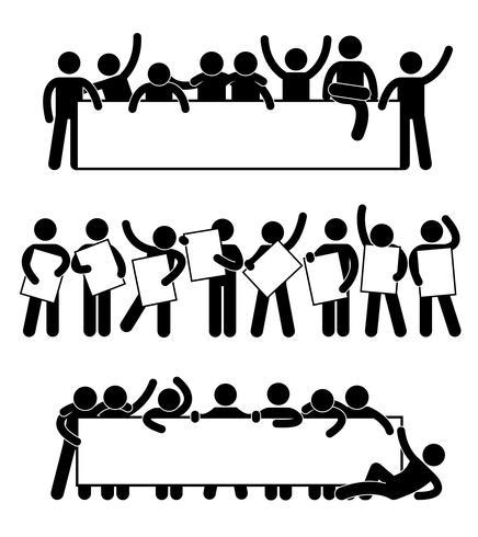 Freund-Community-Teammate Holding Holding-leeres leeres Fahnen-Ikonen-Symbol. vektor