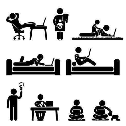 Arbeit von Home Office Freedom Lifestyle Strichmännchen Piktogramm Symbol.