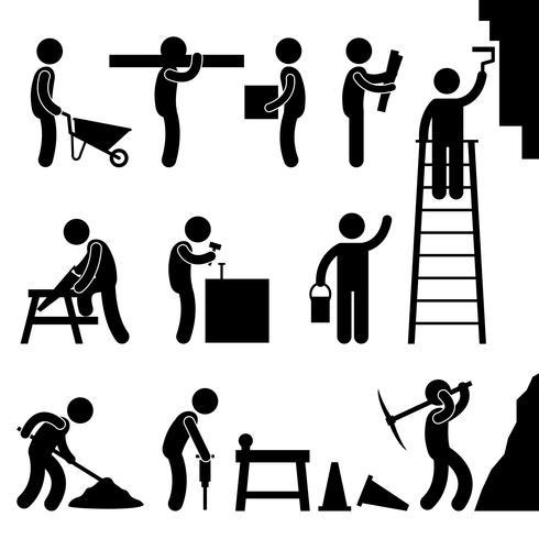 Segno di simbolo dell'icona del pittogramma di lavoro duro di costruzione di lavoro.