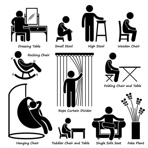 Home House Furniture and Decorations Stick Figure Pictogram Icon Cliparts.