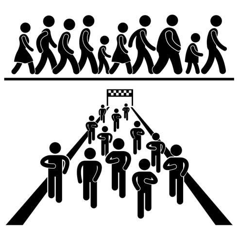Community Walk and Run Marching Marathon Rally Stick Figure Pictogram Icon.