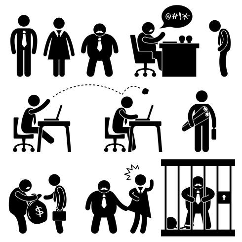 Business Office Workplace Situation Boss Manager Icon Symbol Sign Pictogram. vector