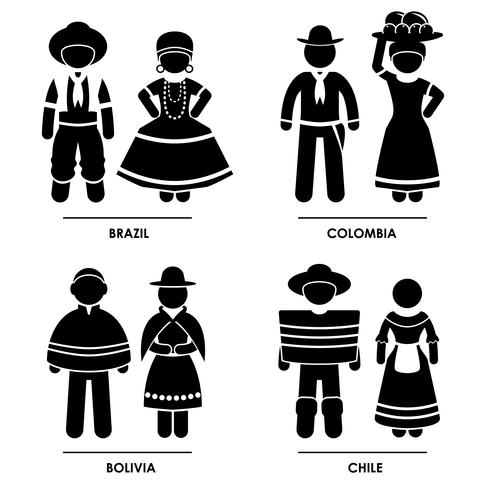 South America  Traditional Costume Clothing. vector