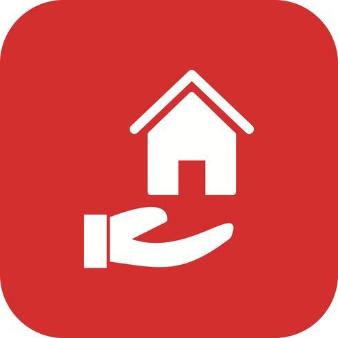 Casa en mano Vector icono