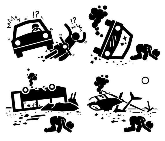 Disastro incidente tragedia di collisione moto auto, bus crash e elicottero Mishap Stick Figure pittogramma icone