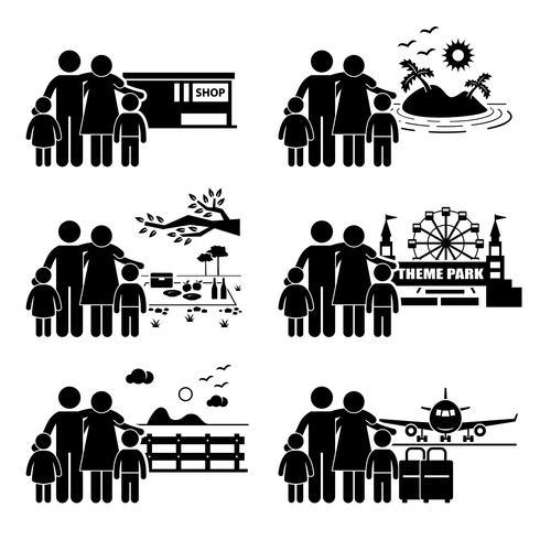 Familj Semesterresa Semester Fritidsaktiviteter Stick Figur Pictogram Ikon.