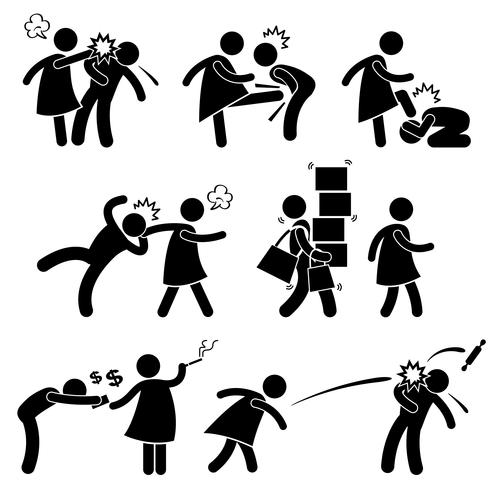 Namorada de esposa abusivo marido fraco namorado stick figura pictograma ícone. vetor