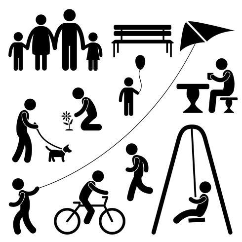 Hombre familia niños jardín parque actividad símbolo pictograma.