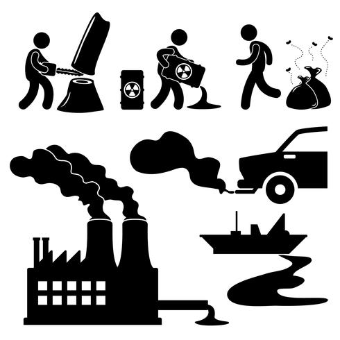 Global Warming Illegal Pollution Destroying Green Environment Concept Icon.