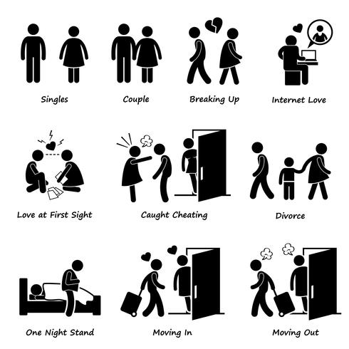 Couple Boyfriend Girlfriend Love Stick Figure Pictogram Icon Cliparts.